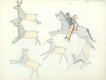 Kiowa hunting elk on horseback, c. 1875-1877 Ledger art- Kiowa hunting elk.jpg