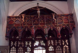 Rood screen - 15th-century rood screen from the chapel of St Fiacre at Le Faouet Morbihan, France, including the two thieves