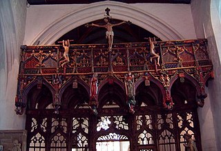 Rood screen partition between the chancel and nave found in medieval church architecture