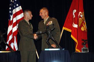 Leftwich Trophy - Gen Hagee presents the Leftwich Trophy to Capt Bronzi in 2005.