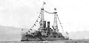 Mississippi-class battleship - Limnos flying Greek flags