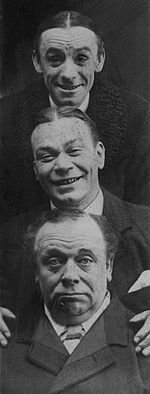 Photo of three men, with one head stacked above the other, two smiling and the bottom one gruff,