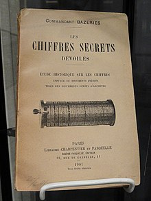 Les Chiffres Secrets Devoiles, by Etienne Bazeries, 1901, with illustration of Bazeries's Cylindrical Cryptograph - National Cryptologic Museum - DSC07723.JPG