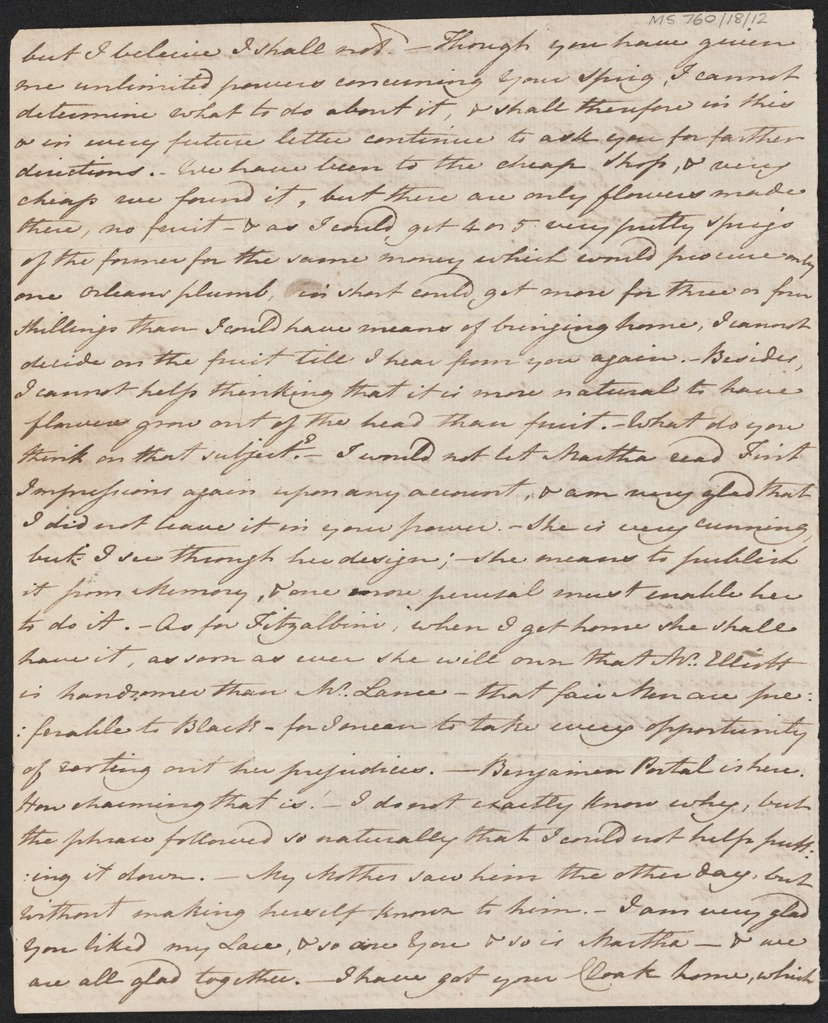"Image of Jane Austen's writing, excerpt from ""Lady Susan."""