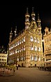 Leuven City Hall, looking up from base at night.jpg