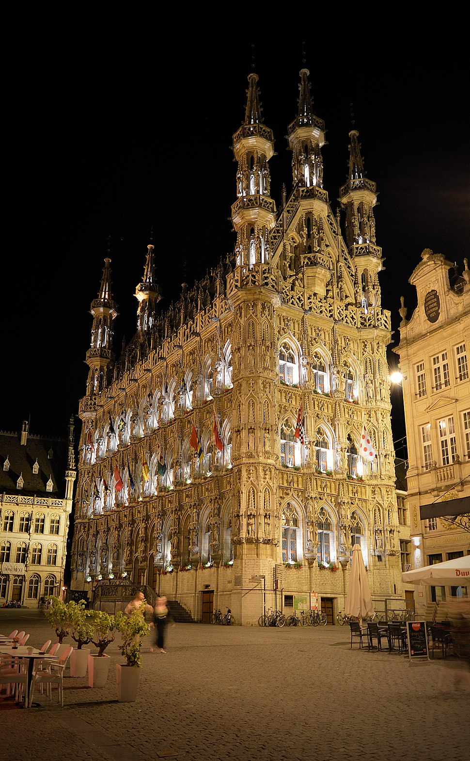 Leuven City Hall, looking up from base at night