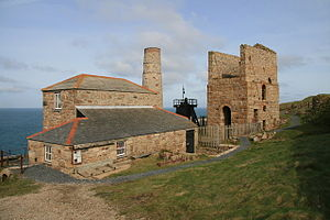 Levant Mine and Beam Engine - Boiler house (with chimney) and whim building on the left, pump engine house to the right