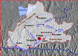 Relief map of Lhasa