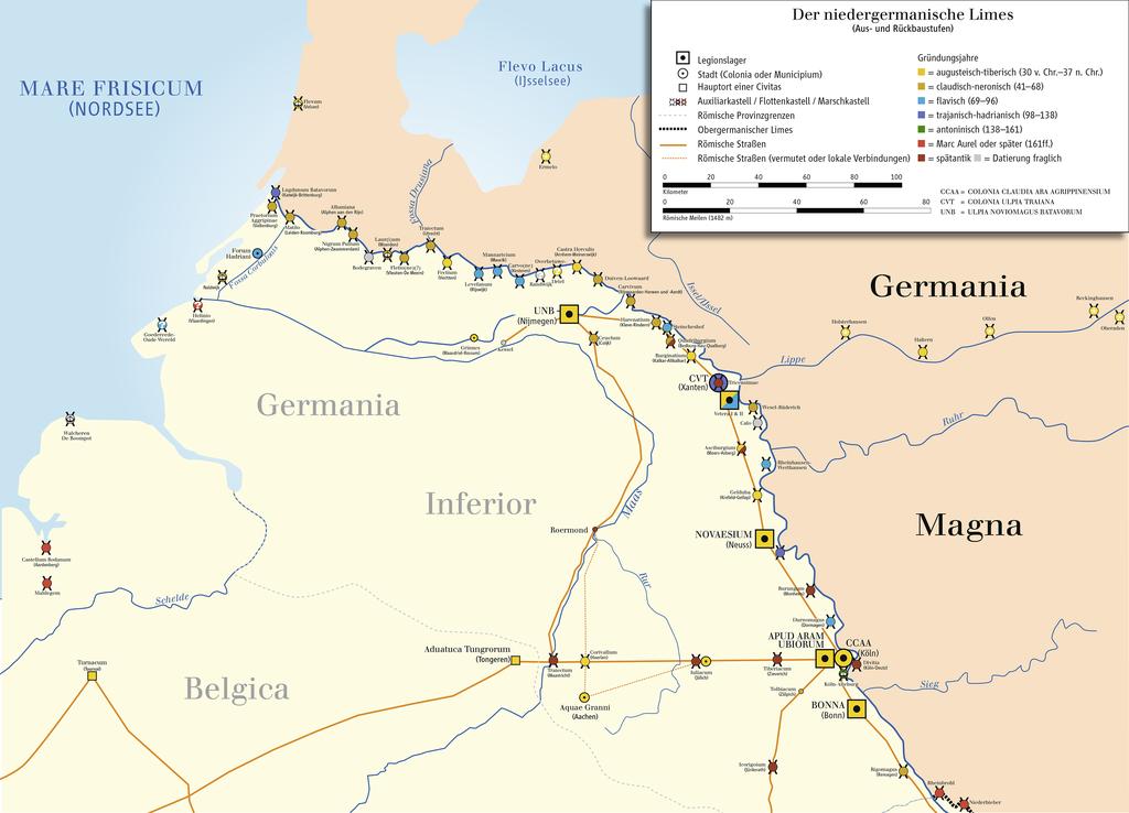 Niedergermanischer Limes Karte