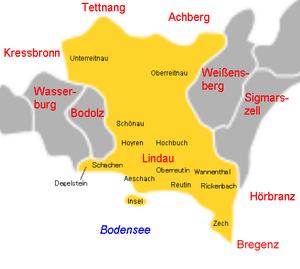 Lage der Insel im Stadtgebiet von Lindau