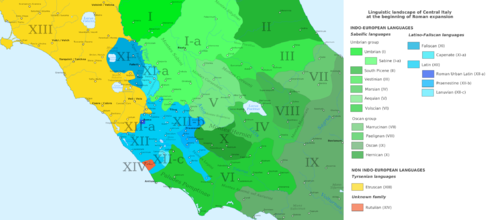 The linguistic landscape of Central Italy at the beginning of Roman expansion Linguistic Landscape of Central Italy.png