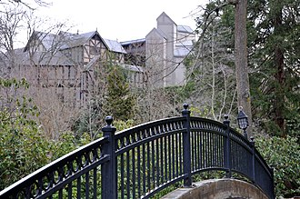 Ashland, Oregon - View of OSF buildings from a footbridge in Lithia Park