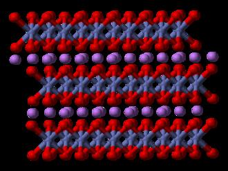 Lithium cobalt oxide - Image: Lithium cobalt oxide 3D balls