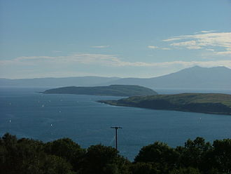 Little Cumbrae - Little Cumbrae seen from the Haylie Brae on the mainland. Note Great Cumbrae in the foreground at the right and Arran beyond.