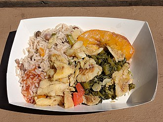Pilaf - Caribbean-style pelau with saltfish and callaloo