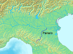Location of the Panaro river in Italy