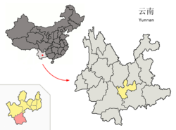 Location of Yuanjiang County jurisdiction (pink) within Yuxi City (yellow) and Yunnan