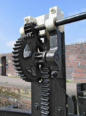 Rack and pinion - Lock gate controls on a canal