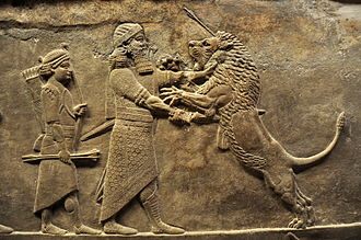 Relief showing a lion hunt, from the north palace of Nineveh, 645-635 BC. Loewenjagd -645-635 Niniveh.JPG