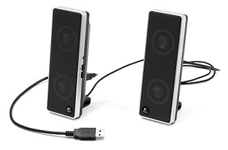 Computer speakers - A pair of speakers for notebook computers that are powered and audio-connected to the computer via USB