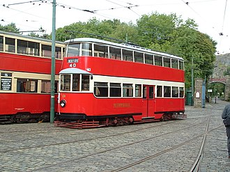"Double-decker tram - London Metropolitan Tramways ""Feltham"" Car No.331. It was built in 1930 and was one of five prototypes. It was sold to Sunderland in 1937, and is now preserved at the National Tramway Museum, Crich, UK."