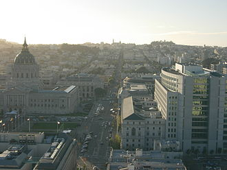 University of California, Hastings College of the Law - View west from the 24th floor James Edgar Hervey Skyroom at 100 McAllister Street. Visible buildings include San Francisco City Hall with its prominent dome, the city's Asian Art Museum of San Francisco at the left foreground and the Supreme Court of California on the right.