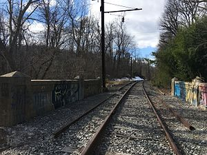 Looking down former Darlington station towards West Chester in 2017.jpg