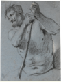 Lucas Franchoys (II) - Half-length study of a bearded man holding a staff.tiff