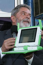 Luiz Inácio Lula da Silva, president of Brazil, with a prototype.