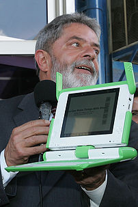 Lula, president of Brazil, and Children's Machine ($100 Laptop).