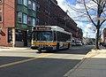 MBTA route 99 bus on Summer Street, April 2018.jpg