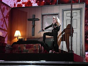 "The MDNA Tour - Madonna performing ""Gang Bang"" during the Trangsression segment of the tour. For this performance she appeared on a moving motel room."