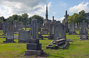 Macclesfield Cemetery - Image: Macclesfield Cemetery and chapel from east of crematorium