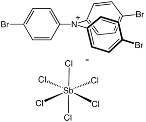 Tris(4-bromophenyl)ammoniumyl hexachloroantimonate - Image: Magic Blue Structure Br 3