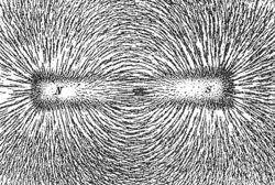 Iron filings in a magnetic field generated by a bar magnet