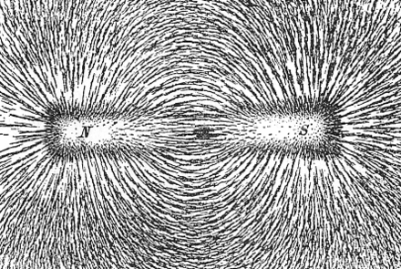 Magnetic lines of force of a bar magnet shown by iron filings on paper Magnet0873.png