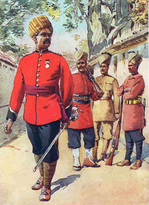 110th Mahratta Light Infantry - Soldier of the regiment (second from left) with other Mahratta Infantry, painted in 1911.