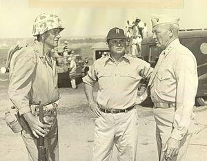 Graves B. Erskine - John Wayne (left) and  Graves B. Erskine (right) on the set of the film Sands of Iwo Jima (1949). Erskine was a technical advisor.