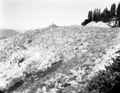 Man working on rock pile during start of construction of north view overlook on rim road. Taken as a record of the project (7e3a44e11cd84dc8ac685be8428757d7).tif