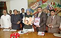 Manmohan Singh releases three briefing kits for Elected Representatives from Parliament to Panchayat on Maternal Health, National Rural Health Mission and Pre- Conception & Pre Natal Diagnostic Techniques Act, 1994.jpg