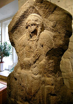 Celtic Britons - Gritstone bas-relief of Romano-British woman