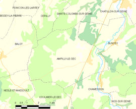 Mapa obce Ampilly-le-Sec