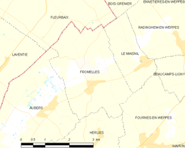 Mapa obce Fromelles