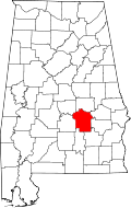 Map of Alabama highlighting Montgomery County