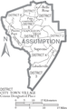 Map of Assumption Parish Louisiana With Municipal and District Labels.PNG