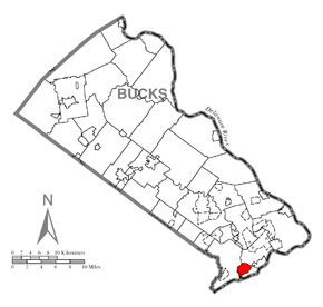 Map of Croydon, Bucks County, Pennsylvania Highlighted.png
