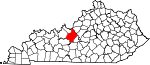 State map highlighting Hardin County