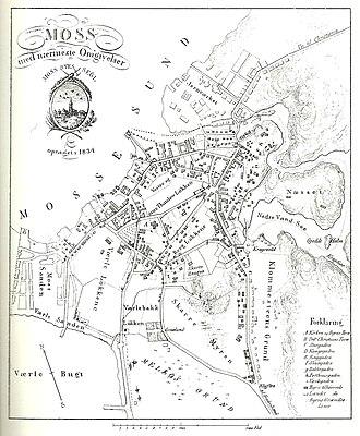 Moss Jernverk - Map of Moss from 1834