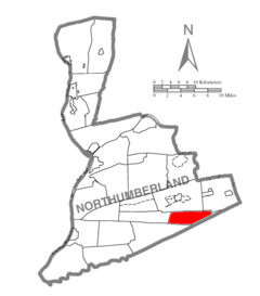 Map of Northumberland County Pennsylvania Highlighting East Cameron Township.PNG