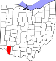 Map of Ohio highlighting Clermont County